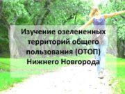 Изучение озелененных территорий общего пользования (ОТОП) Нижнего Новгорода