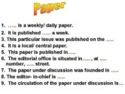 1. …. . is a weekly/ daily paper.