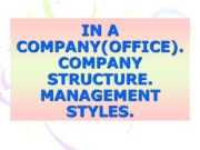 IN A COMPANY(OFFICE). COMPANY STRUCTURE. MANAGEMENT STYLES. KIND