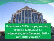 Изменения ГК РФ о юридических лицах с 01.