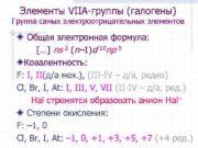 Элементы VIIА-группы (галогены) Группа самых электроотрицательных элементов