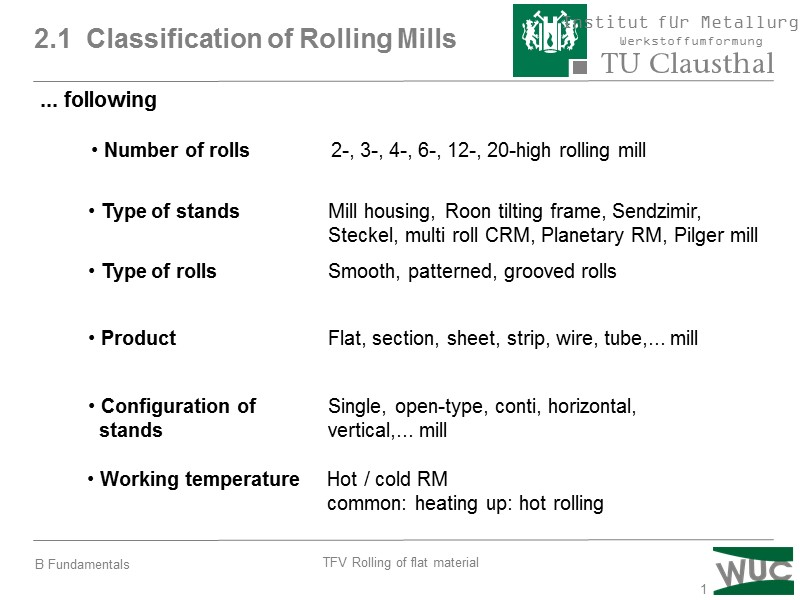 1 2 1 Classification of Rolling Mills … following
