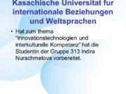 Kasachische Universitat fur internationale Beziehungen und Weltsprachen Hat