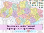 Економічне районування і територіальна організація Основні питання Сутність
