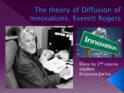 The theory of Diffusion of Innovations. Everett Rogers