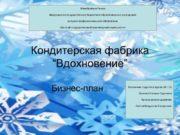 """Кондитерская фабрика """"Вдохновение"""" Бизнес-план Выполнила студентка группы БИ"""