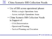 China Scenario ISR Collection Needs Use of ISR