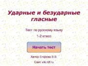 Ударные и безударные гласные Тест по русскому языку