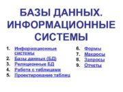 БАЗЫ ДАННЫХ. ИНФОРМАЦИОННЫЕ СИСТЕМЫ 1. Информационные системы 2.