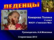 Комарова Полина 2 класс МАОУ «Гимназия №