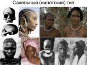 Сахельный (нилотский) тип Восточноафриканский тип Южноафриканский тип Негры