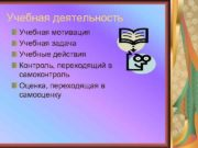 Учебная деятельность Учебная мотивация Учебная задача Учебные действия