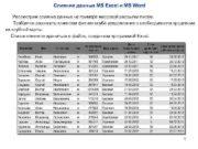 Слияние данных MS Excel и MS Word Рассмотрим