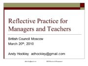 adhockley@gmail.com H&E Education & Management Reflective Practice for