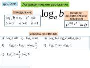Логарифмические выраженияb a log. Урок № 35 100