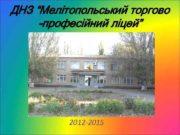 """ДНЗ """"Мелітопольський торгово -професійний ліцей"""" 2012 -2015"""