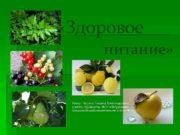 «Здоровое питание» Автор : Черных Татьяна Александровна