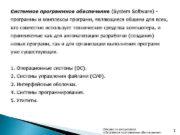 Системное программное обеспечение (System Software) программы и комплексы
