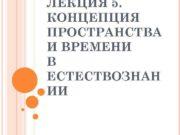 ЛЕКЦИЯ 5. КОНЦЕПЦИЯ ПРОСТРАНСТВА И ВРЕМЕНИ В ЕСТЕСТВОЗНАН