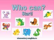 Start! Who can run? A cat can run.