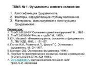 ТЕМА 1 Фундаменты мелкого заложения 1 Классификация
