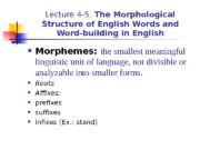 Lecture 4 -5.  The Morphological Structure of