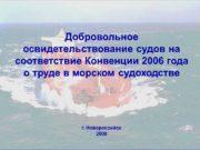 Добровольное освидетельствование судов на соответствие Конвенции 2006 года
