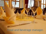 Food and beverage manager. F&B manager. Has a