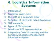 6. Logistics Information Systems Introduction Customer order cycle