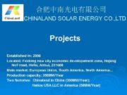 合肥中南光电有限公司 CHINALAND SOLAR ENERGY CO LTD Projects