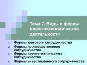 Тема 2. Виды и формы внешнеэкономической деятельности Формы