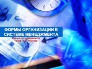 ФОРМЫ ОРГАНИЗАЦИИ В СИСТЕМЕ МЕНЕДЖМЕНТА Лекции по менеджменту