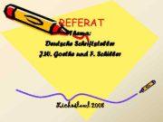 REFERAT Thema Deutsche Schriftsteller J W Goethe und