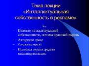 Тема лекции Интеллектуальная собственность в рекламе План