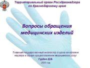 Территориальный орган Росздравнадзора по Краснодарскому краю Вопросы обращения