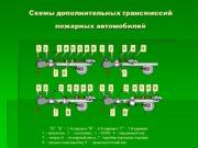 Схемы дополнительных трансмиссий пожарных автомобилей Схема трёхвальной дополнительной