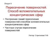 Лекция 6 Пересечение поверхностей Способ вспомогательных концентрических сфер