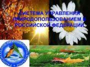 СИСТЕМА УПРАВЛЕНИЯ ПРИРОДОПОЛЬЗОВАНИЕМ В РОССИЙСКОЙ ФЕДЕРАЦИИ Понятие