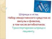 Шприцы и иглы Набор лекарственного средства из ампулы