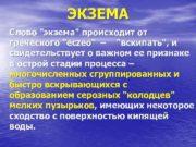 ЭКЗЕМА Слово экзема происходит от греческого есzео
