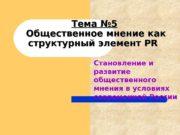 Тема № 5  Общественное мнение как структурный