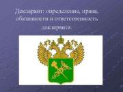 Декларант определение права обязанности и ответственность декларанта