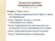 Актуальные проблемы информационного права А Я Минин д