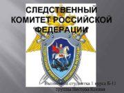 СЛЕДСТВЕННЫЙ КОМИТЕТ РОССИЙСКОЙ ФЕДЕРАЦИИ Выполнила студентка 1 курса