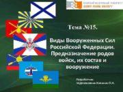Тема 15 Виды Вооруженных Сил Российской Федерации