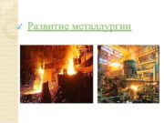 Развитие металлургии В металлургический комплекс входят черная