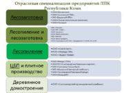 Отраслевая специализация предприятий ЛПК Республики Коми Предприятия ЛПК