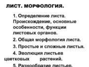 ЛИСТ МОРФОЛОГИЯ 1 Определение листа Происхождение основные особенности