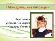 Выполнила ученица 1 а класса Фролова Полина «Мои