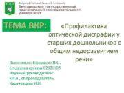 ТЕМА ВКР Профилактика оптической дисграфии у старших дошкольников